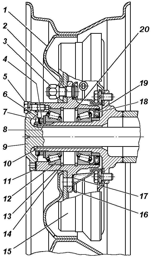 Ступицы, колеса, шины В ступицах передних и задних
